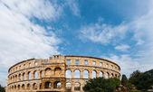 Pula Croatia Roman time arena detail UNESCO world heritage site. — Stock Photo