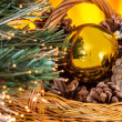 Christmas composition with basket with pine cones and gold Chris — Stock Photo #37557461