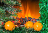 Christmas composition with oranges — Stockfoto
