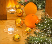 New year composition with orange and gold Christmas balls — Stock Photo