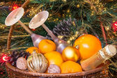Basket for new year's picnic — Stockfoto