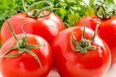 Red tomatoes and parsley leaves closeup — Stock Photo