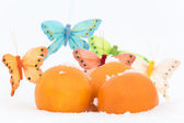 Still life with oranges and butterflies-decorations on snow — Stock Photo