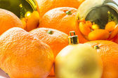 Christmas still life with tangerines — Stock Photo