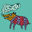 Colorful dog with sun sesummer banner. — Stock Vector #31472219