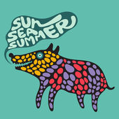 Colorful dog with sun sea summer banner. — Stock Vector