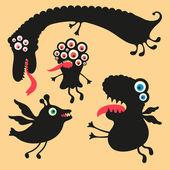 Happy monsters vectorafbeeldingen. reeks 1 — Stockvector