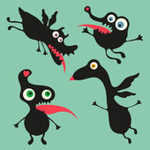 Happy monsters vector images. Set 7 — Stock Vector
