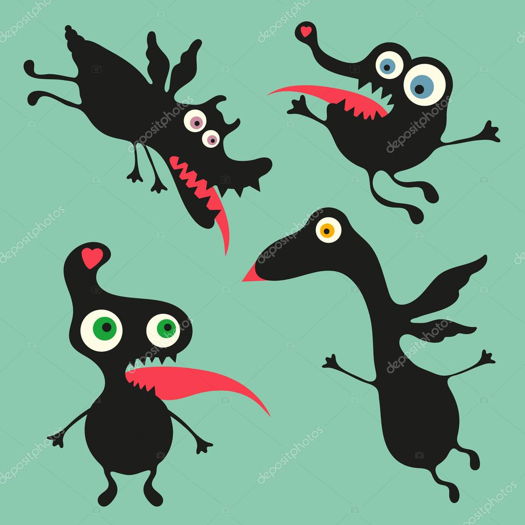Happy Monster Illustration Happy monsters vector ...