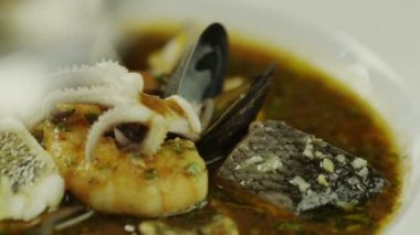Eating Delicious Seafood Soup in Luxury Restaurant. Close-Up. — Stock Video
