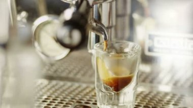 : Cup of Espresso Being Poured from a Professional Espresso Machine. Close-Up. — Stock Video