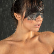 Young Bride with wet hair and running makeup — Stock Photo #31204465