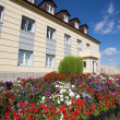 Flowerbed of colorful flowers against administrative building of plant — Photo #31446911