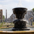 Fountain against an administrative building of a plant — Stok fotoğraf