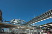 Industrial building, Steel pipelines — Stock Photo