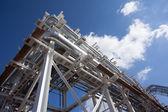 Industrial zone. Steel pipelines — Stock Photo