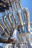 Industrial zone,. Steel pipelines — Stock Photo