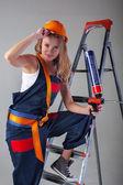 Working girl met tools — Stockfoto
