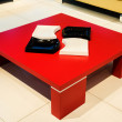 Red square coffee-table — Stock Photo