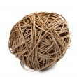 Closeup of a ball of hemp twine on a white background — Stock Photo