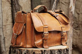 Bag on wooden background — Stock Photo