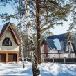 Snowy cottage in the village — Stock Photo #40482599