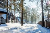 Snowy street in winter village — Stock Photo