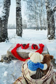 Teddy bears rest in winter forest — Stock Photo