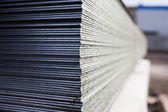 Steel plates at construction — Stock Photo