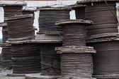 Large rolls of steel cables — ストック写真