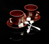 Two tea cups with teaspoons — Stock Photo