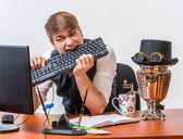 Man with keyboard — Stock Photo