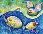 空飛ぶ卵 — ストック写真