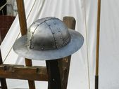 Medieval Riveted Iron Helmet — Stock Photo