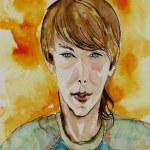Watercolor Portrait of a Street Smart Kid — Stock Photo