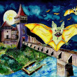 Halloween Landscape with Bats and Transylvanian Castle — Stock Photo