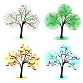 Tree at different times of the year — Stock Vector