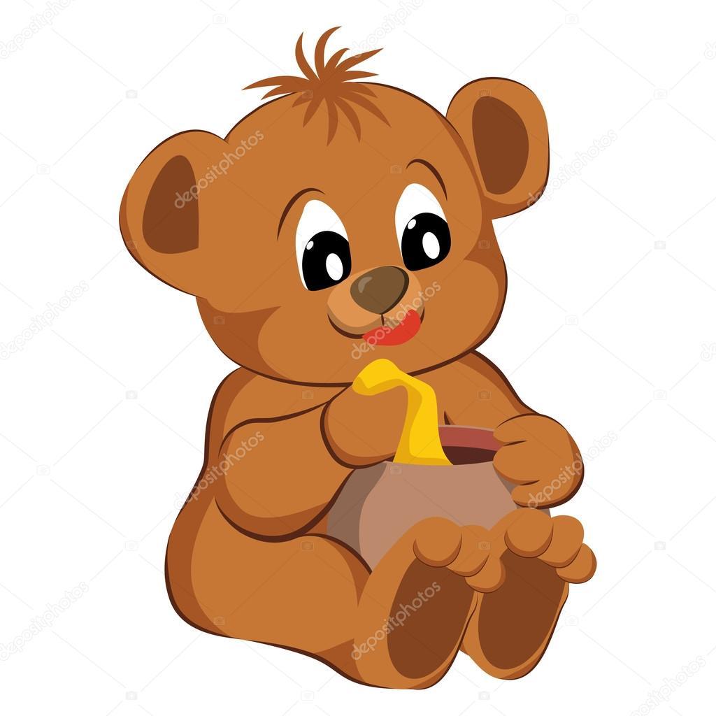 在白色背景上的熊玩具.矢量插画