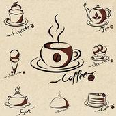 Conjunto de iconos de menú café. ilustración vectorial — Vector de stock