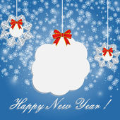 New Year card with snow on the blue — Stock Vector