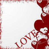 Grunge valentine's day backgraund with hearts. — Stock Vector