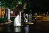 Park i madrid på natten — Stockfoto
