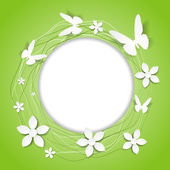 Paper floral round frame with butterflies — Stock Vector