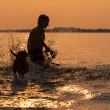 Man with little beagle puppy fooling around in ocean sunset wave — Stockfoto
