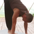 Yoga man Handstand pose in mountain training center — Stock Video