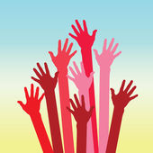 Warm colorful up hands — Stock Vector