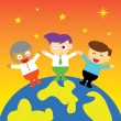 Businesspeople  standing on the planet — Stock Vector