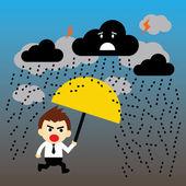 Arrabbiato, uomo d'affari va con un ombrello sotto la pioggia — Vettoriale Stock