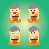 буддийский монах мультфильм — Cтоковый вектор
