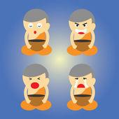 Buddhist monk cartoon — Stock Vector